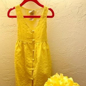 Delicate yellow & white toddler dress for girls.